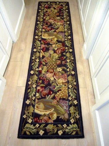 "VINTAGE 1979 HOOKED WOOL RUNNER RUG FRUIT, & FLORAL 93"" x 24"" Country Decor"