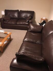 PERFECT CONDITION: Frank Knighton x 2 Brown Leather Sofas