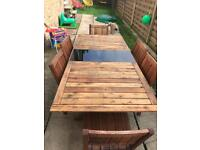Solid wood extending table & 6 chairs