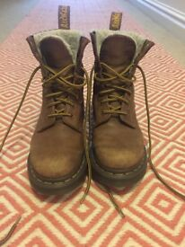 Dr Martens size 3.5, brown, fur lined, boots. Used.