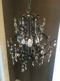 Chandelier - metal with clear droplets