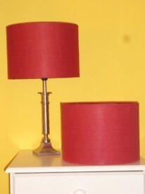 Two Straight Dark Red Lampshades. 25cm Diameter