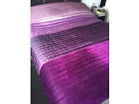 DUNELM BED SPREAD. 200 x 200 cms. Lined. 4 shades of purple/ pink.