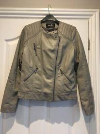Ladies faux leather curve seam biker jacket. Size 12