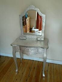 Dressing table (embossed silver) with mirror