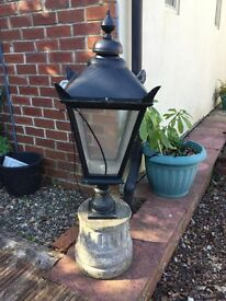 Very large black. Garden Lantern on plinth