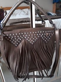 Metallic brown faux leather hand bag