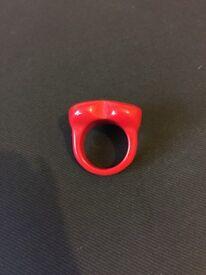 Medium red heart ring