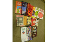 Spanish-learning books, CDs and tapes. 11 books, one box with 2 CDs, one box with 4 tapes.