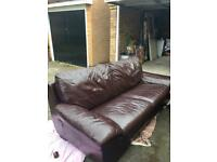 Brown Leather Sofa, Chairs & Foot Rest