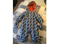 John Lewis Dinosaur Print Snow Suit aged 0-3 months.