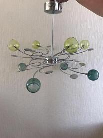 NEXT ceiling light and matching floor standing light green glass & chrome ***REDUCED***
