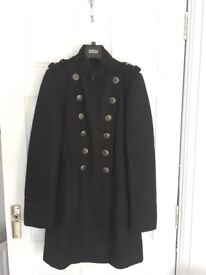 Military style black ladies coat