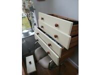 Pine real wood sideboard, painted front, papered back