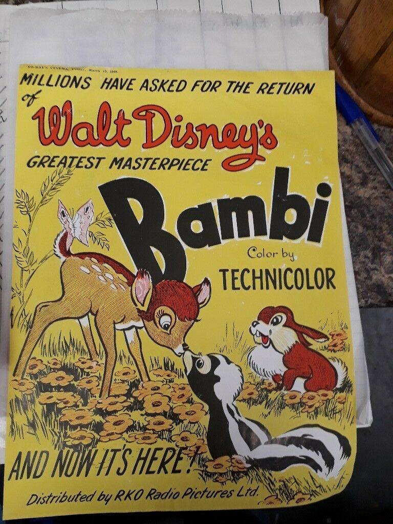 Bambi vintage film advertisement page. Ephemera collectible. Disney