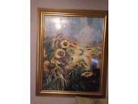 Framed sunflower painting