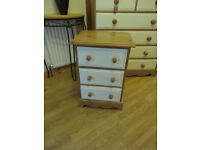 Quality waxed pin Country style chest of bedside drawers