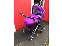 Silver cross wayfer with carry for, pushchair seat and purple colour pack