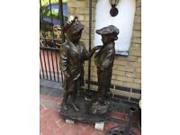 boy and girl garden ornament with lamp . cold cast resin bronze effect 1800mm H670mm W 470mmD 60w