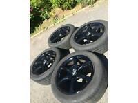 """Genuine Nissan Skyline 17"""" Black Alloy Wheels R32 R33 R34 5x114.3 Drift"""