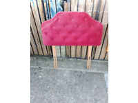 bright pink padded headboard for single bed