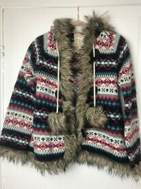 Womens Falmer Heritage Pink Blue Cream Knitted fur Hooded Jacket