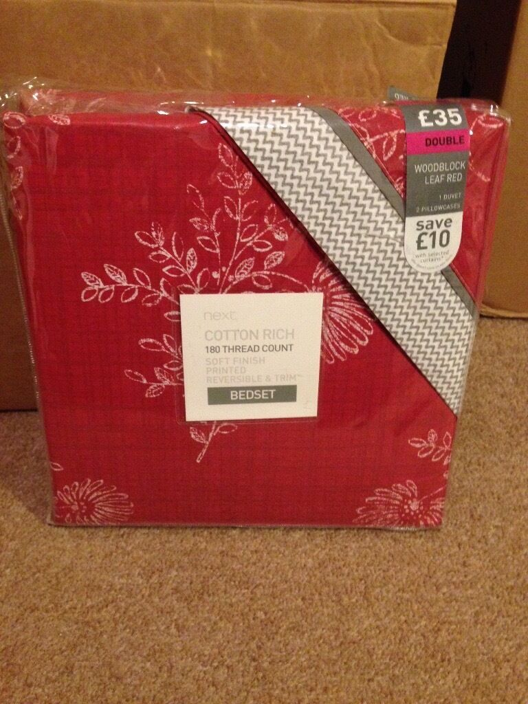 Never opened NEXT Double Duvet setin Birstall, LeicestershireGumtree - Never opened and unused NEXT double duvet set with two pillowcases. Beautiful dark red/maroon color. Less than half price