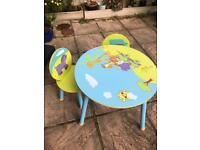 Children's wooden table and chair set