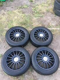 "TEAM DYNAMIC BLACK MONZA R ALLOY WHEELS WITH TYRES 16"" 5X108 FORD VOLVO JAGUAR set of 4"