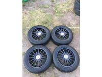 """TEAM DYNAMIC BLACK MONZA R ALLOY WHEELS WITH TYRES 16"""" 5X108 FORD VOLVO JAGUAR set of 4"""