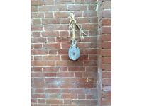 Old wooden vintage pully