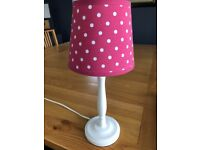 Sweet White and Pink Polka Dot bedside lamp