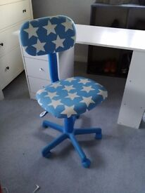 Childs desk and swivel chair.