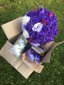 Artificial flowers white purple roses