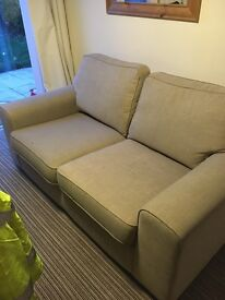 Two seater sofa in oatmeal. Small marks shown in pic otherwise good condition..