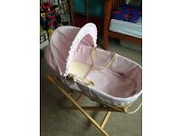 Pink waffle Moses basket & stand