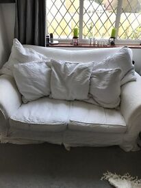 3 seater sofa & 2 armchairs white removable fabric covers