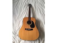 Vintage acoustic Kimbara guitar 6/S with soft leather case and capo