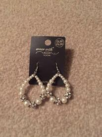 Diamonte and pearl drop earrings