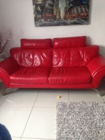 Red leather 3 seater an 2 chairs