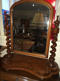 Elegant Original Antique Mahogany Barley Twist Victorian Table Top Swivel Vanity Dresser Mirror