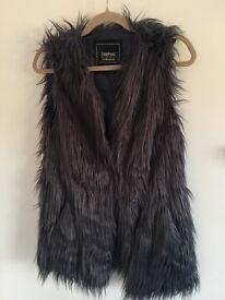 Grey faux fur gillet size 10