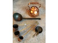Collectible copper and brass fire side and ornaments