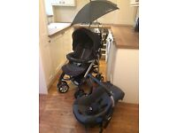Silver Cross Pram in grey & orange with car seat & accessories