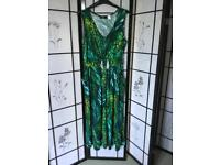 Plus Size XL/ Eur48/50. Cocktail dress in shades of greens with Diamante bling to waist. Mid length.