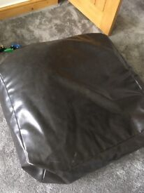 Faux brown leather large square beanbag
