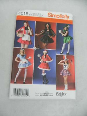 SIMPLICITY Sexy Witch-Claus-Red Riding Hood-Mad Hatter 4015 YY Sew Pattern UNCUT