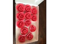 Edible roses, cake toppers