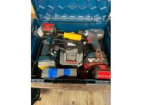 Bosch 18v drill and light with 3 battery's