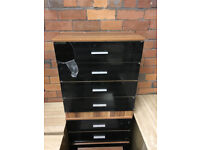 High gloss Chest of 4 Drawers Bedroom Furniture Cabinet Storage Bedside Drawer